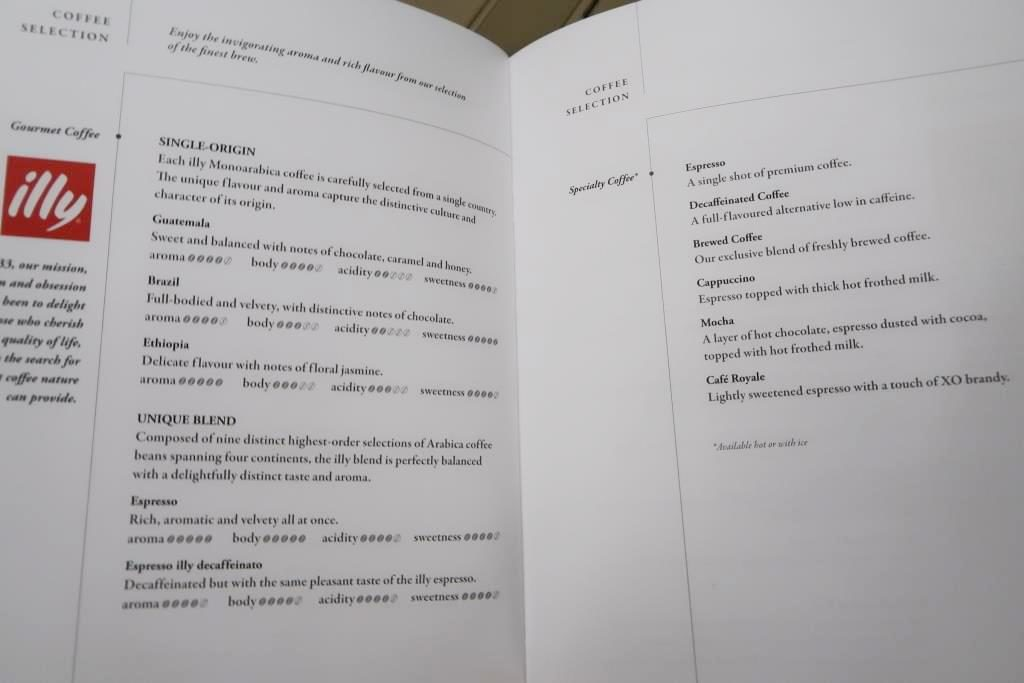 Singapore Airlines Business Class Menu Gourmet Coffee Selection